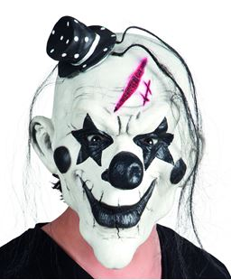 Picture of LATEX HEAD MASK PSYCHO CLOWN WITH HAIR