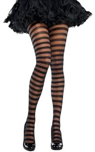 Picture of Tights Black Stripes One Size